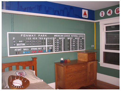 Red sox room on pinterest boston red sox fenway park for Boston red sox bedroom ideas