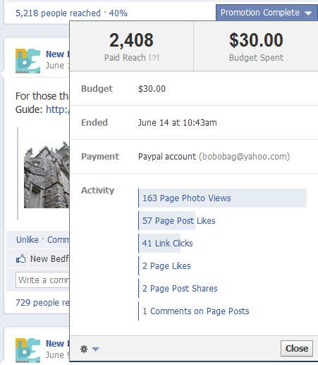 Facebook Promoted Post Paid Reach Stats