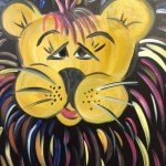 painting with a splash cowardly lion