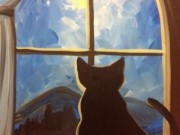painting with  a splash cat in window