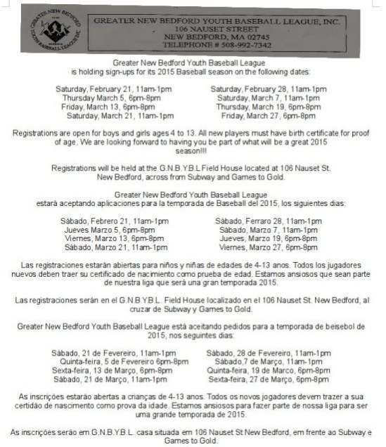 Greater New Bedford Youth Baseball League sign-ups (English, Espanol ...