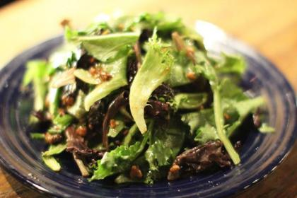 cork salad mixed baby greens dried cherries toasted macadamia red onion fig vinaigrette
