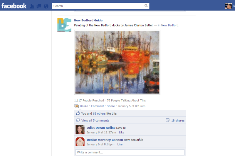 Example Art on New Bedford Guide's Facebook