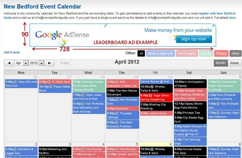 New Bedford Event calendar ad Space
