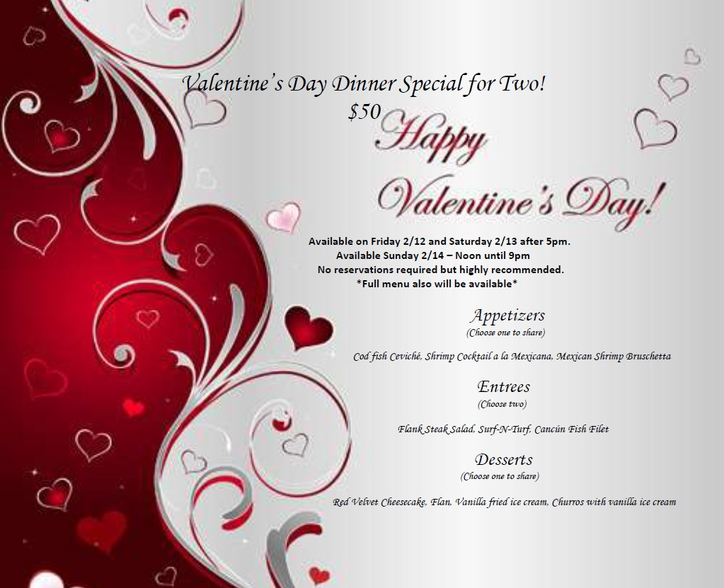 Valentine S Day Dinner For 2 Adriana S Mexican Restaurant New