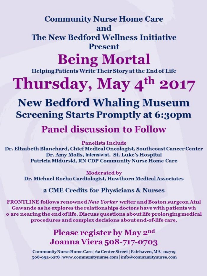 """FREE screening of the documentary """"Being Mortal"""" followed by"""