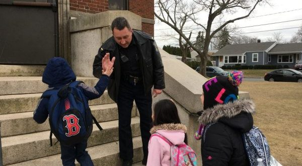 New bedford officers greet students with high fives for high five new bedford officers greet students with high fives for high five friday september 15 new bedford guide m4hsunfo
