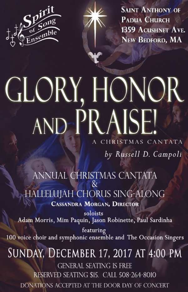 former new bedford teacher and local composer russell campoli completed a christmas cantata called honor glory and praise the spirit of song ensemble - Christmas Hallelujah Song